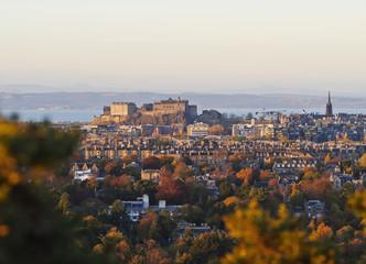 City skyline with the Castle viewed from the Blackford Hill, Edinburgh, Lothian, Scotland, United Kingdom, Europe