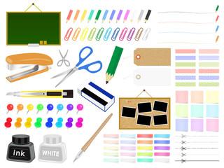 文房具と事務用品のイラストセット