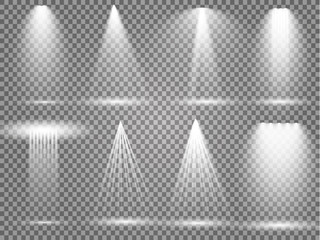 Keuken foto achterwand Licht, schaduw Vector light sources, concert lighting, stage spotlights set. Concert spotlight with beam, illuminated spotlights for web design illustration