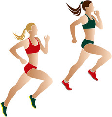 two women athletes runners color silhouettes