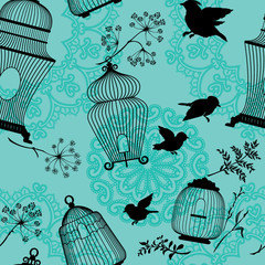 Seamless pattern with decorative bird cage black Silhouettes, fl