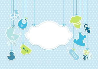 Card Baby Boy Symbols Hanging Cloud Stars Blue