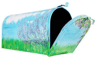 Side view of open hand painted mailbox