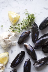 Directly above shot of mussels with garlic and lemon slices