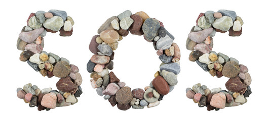 SOS word with beach pebbles