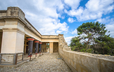 Fotomurales - Old walls of Knossos near Heraklion. The ruins of the Minoan palaces is the largest archaeological site of all the paleces in Mediterranean island of Crete, UNESCO tentative list, Greece