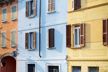 Beautiful colorful mediterranean house facades in Desenzano del Garda town