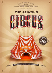 Vintage Old Circus Poster With Big Top