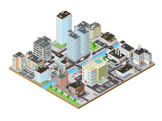 Isometric City Icon.