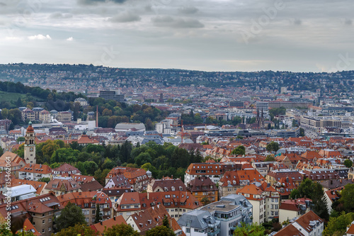 Fototapete View of Stuttgart from hill, Germany