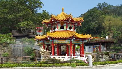 Dragon head spraying water at Zhinan Temple cable car station