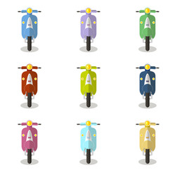 Set of multicolored scooters, mopeds, frontal view, flat vector illustration on white background