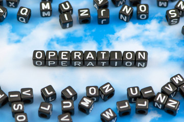 The word Operation on the sky background