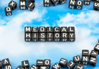 The word medical history on the sky background