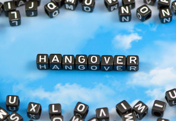 The word Hangover on the sky background