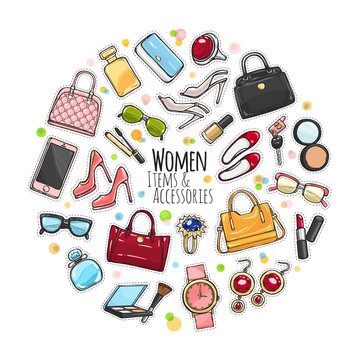 Set of Different Women Items and Accessories.