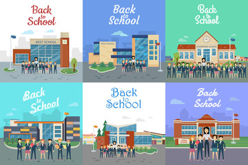 Back to School. Icons with Different Building Type