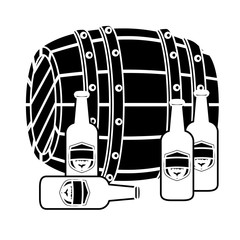 black wooden barrel with bottles of beer design, vector illustration