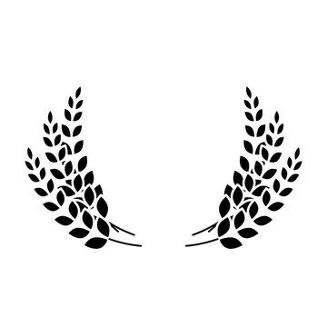 black wheat branches icon image design, vector illustration