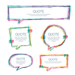 Vector set of quote blank template. Multicolor overlapping banner background. Hand drawn sketch frames. Blank speech bubbles for text information and print design.