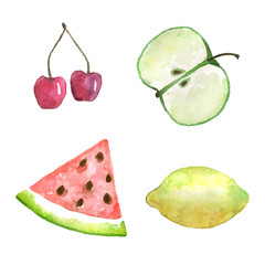Watercolor collection of fruits. Hand drawn elements for original design