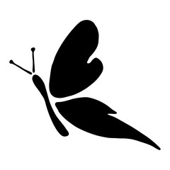 Vector black and white illustration of insect. Butterfly isolated on the white background. Hand drawn decorative vector logo, icon, sign, tattoo. Graphic vector illustration.