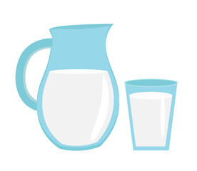 Milk in jug of glass, glass with milk icon flat style. Isolated on white background. Vector illustration