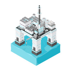 Offshore Oil Rig Icon Illustration. 