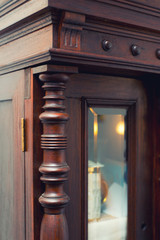 Detail of the beautiful antique wooden cabinet