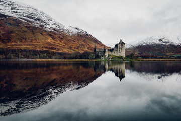 Reflection of castle in lake