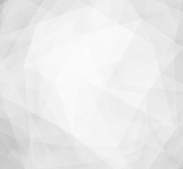 layers of white low poly designs on gray and white background with diamond facet or crystals texture concept