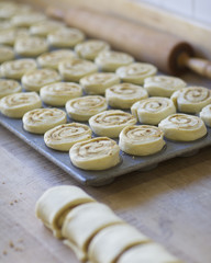A pan of cinnamon rolls ready to be baked