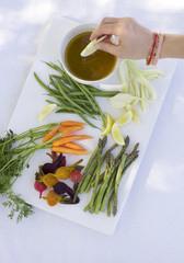 Raw vegetable platter with dip
