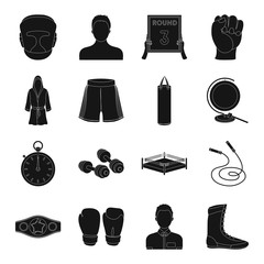 Boxing set icons in black style. Big collection of boxing vector symbol stock illustration