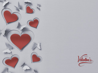 paper butterflies and hearts , happy valentine's day - 3D romantic card / background ( love , butterfly , heart , valentine )
