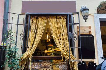 Curtains made from Pasta in Portovenere in the Ligurian region o