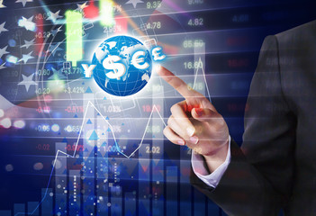 Double exposure of business woman hand touching world with currency symbol and USA stock market design