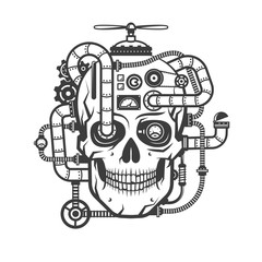 Steampunk cyborg skull with integrated devices. Monochrome vector illustration.