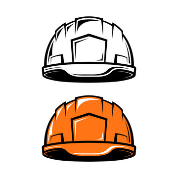 Construction, industrial helmet in cartoon style on white background. Black and white and color versions. Vector illustration.