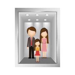 picture open building elevator with people inside vector illustration