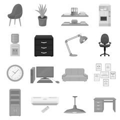 Office furniture and interior set icons in monochrome style. Big collection of office furniture and interior vector symbol stock illustration