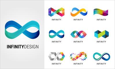 Colorful abstract infinity, endless symbols and icon collection