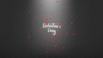 Valentines Day background with glowing light and falling heart petals