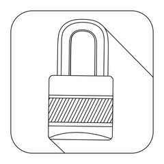 square shape with silhouette closed padlock vector illustration