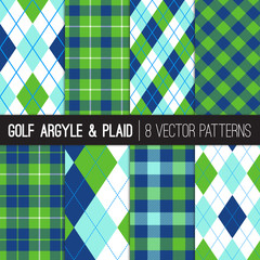 Golf Style Argyle and Tartan Plaid Patterns in Green, Navy, Blue and White. Sports Fashion or Golf Party / Event Design Backgrounds. Vector Pattern Tile Swatches Included.