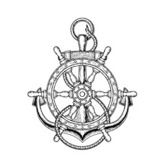 illustration of nautical steering wheel and anchor