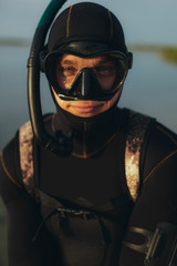Young guy in snorkeling gear