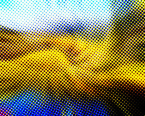 Blue Yellow Black and White Halftone