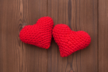 wool hearts for valentines day