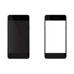 Realistic black phones with white and black screen, isolated on